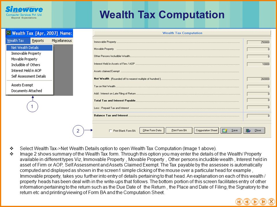 Wealth Tax Computation