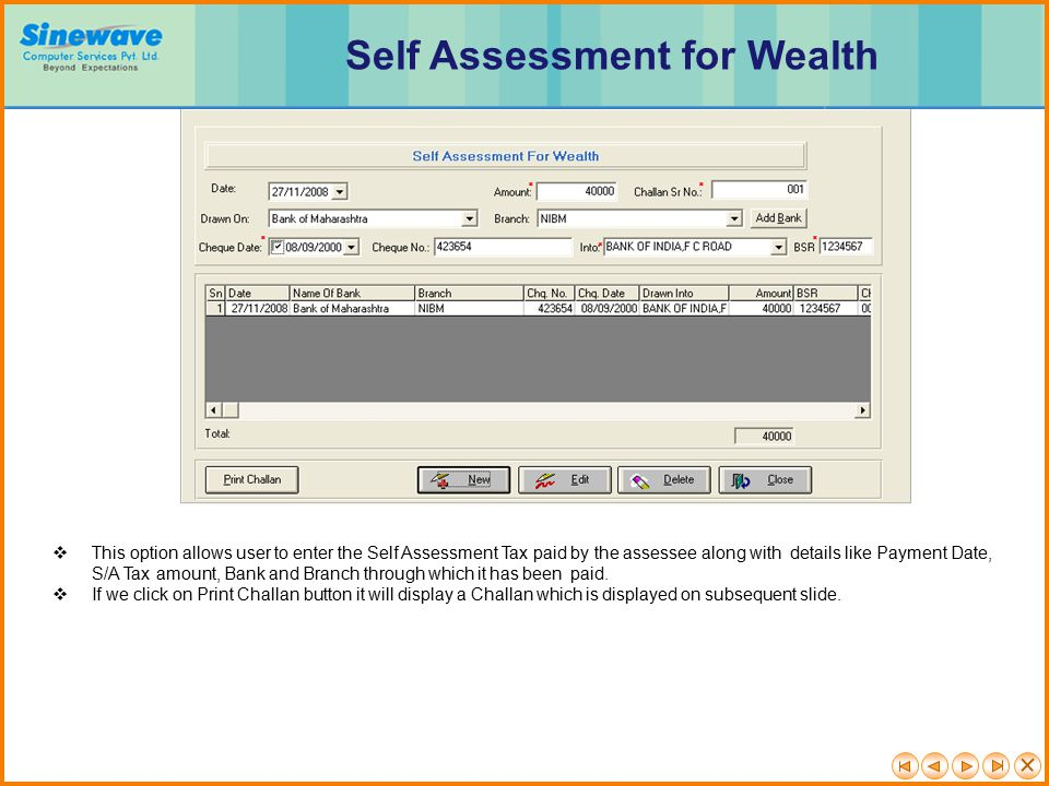 Self Assessment for Wealth