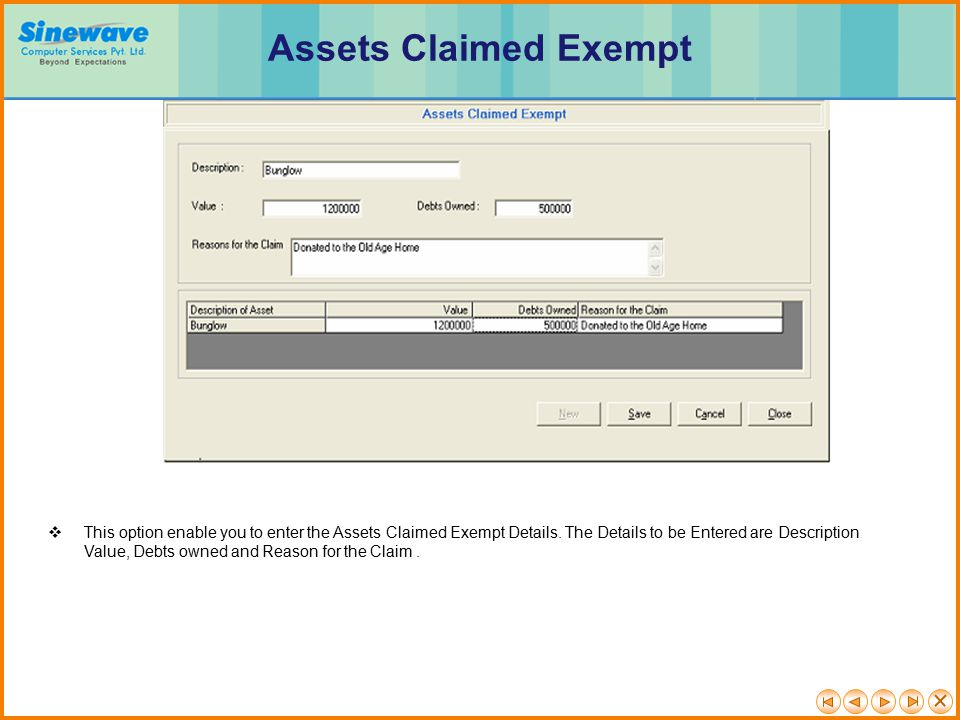 Assets Claimed Exempt