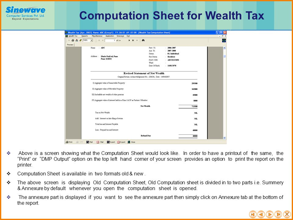 Computation Sheet for Wealth Tax