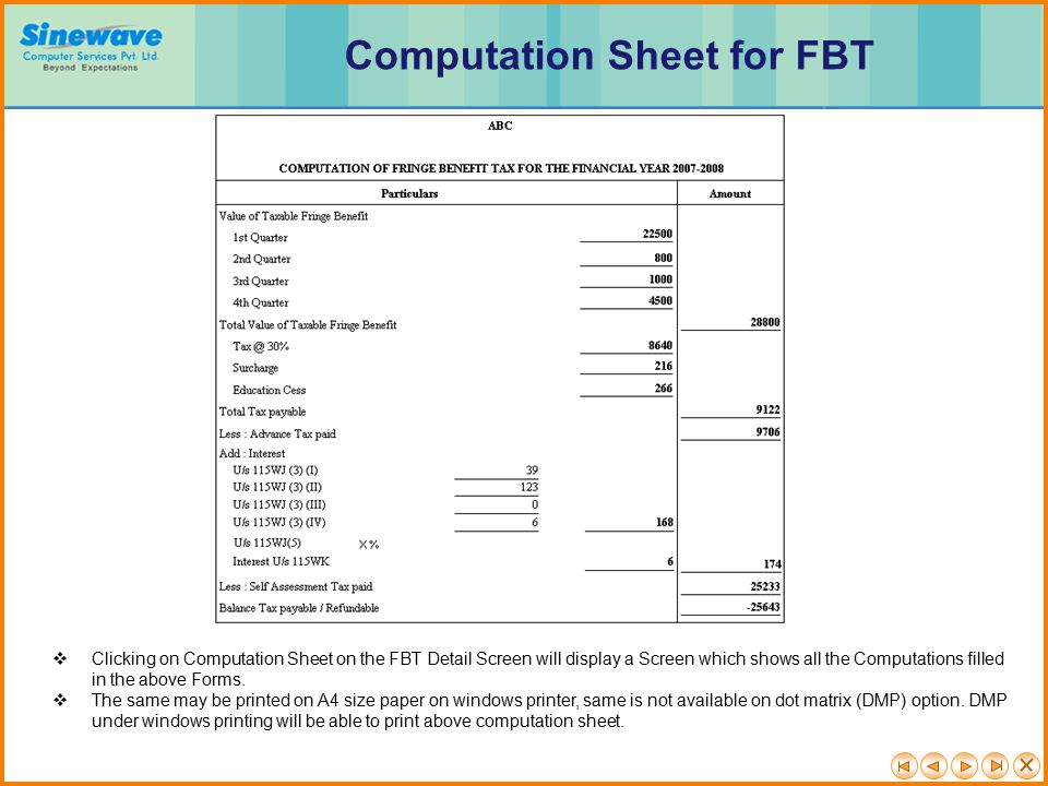 Computation Sheet for FBT
