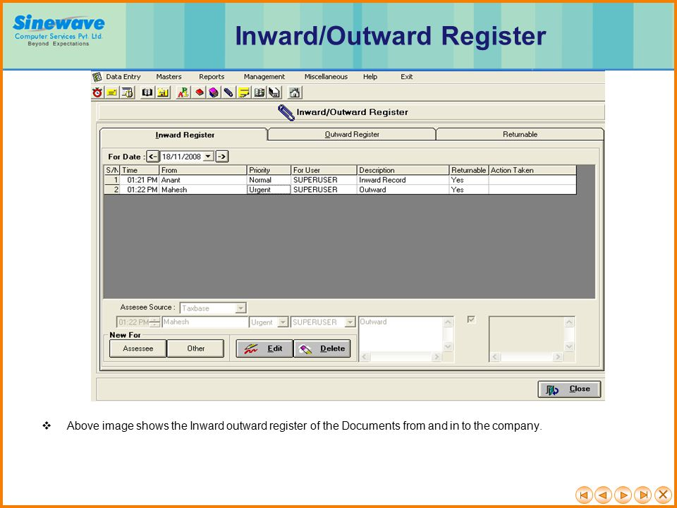 Inward/Outward Register