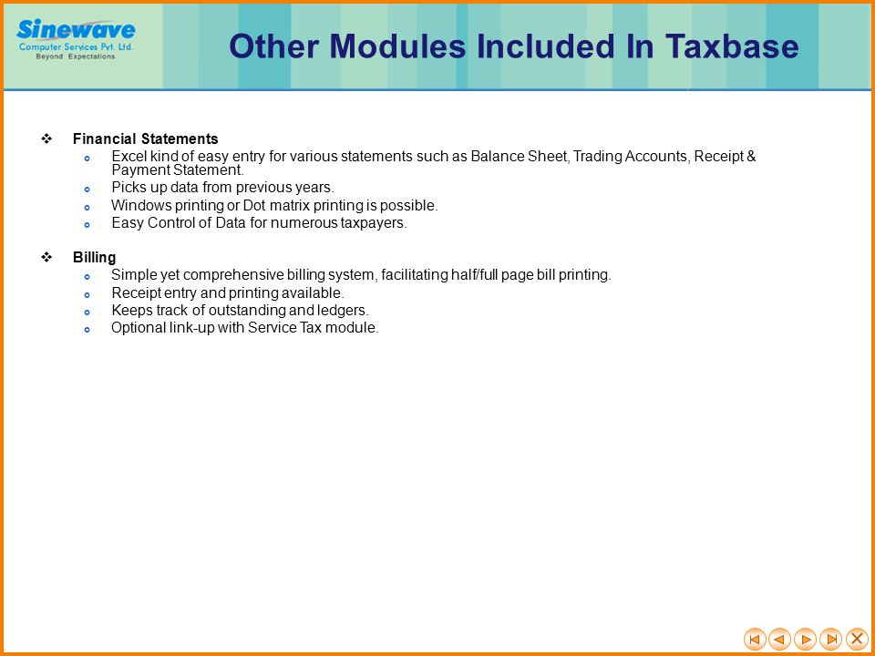 Other Modules Included In Taxbase