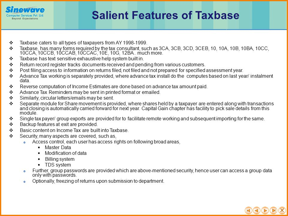 Salient Features of Taxbase
