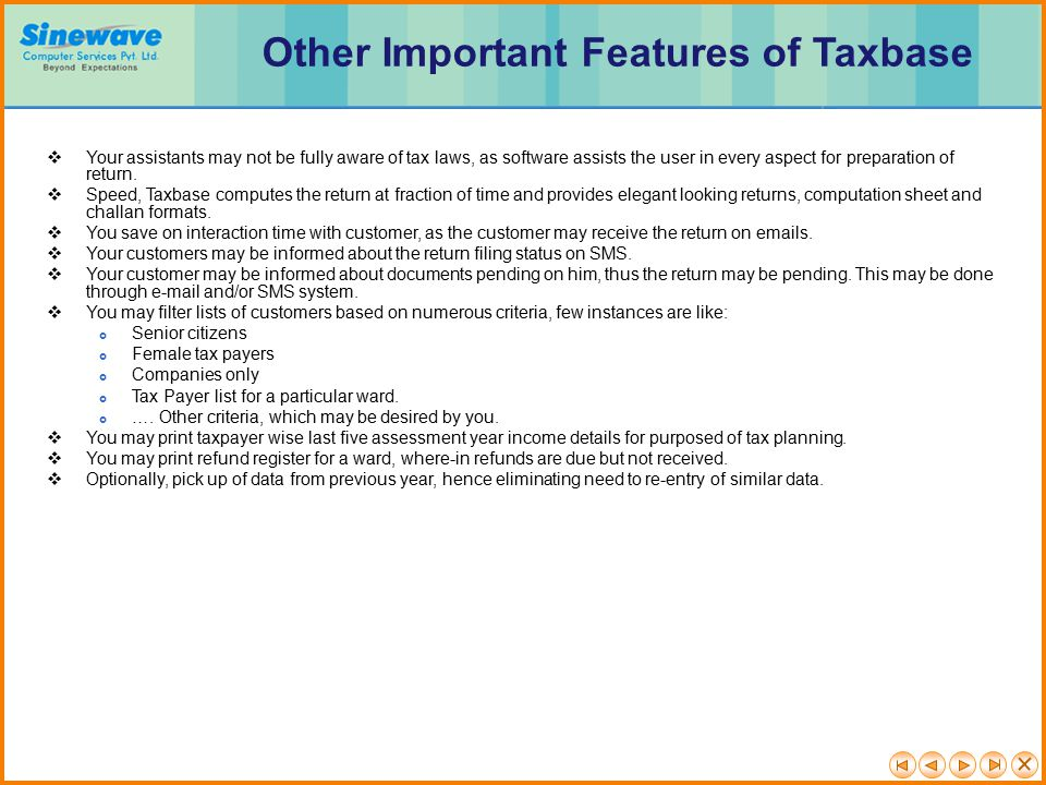 Other Important Features of Taxbase