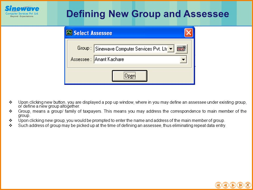 Defining New Group and Assessee