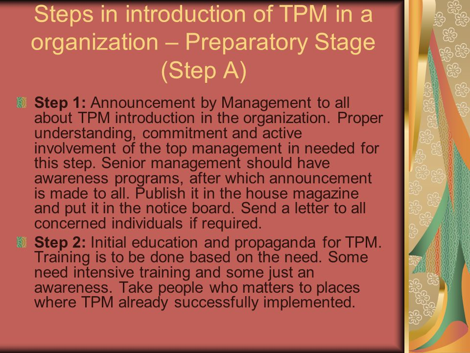 Steps in introduction of TPM in a organization – Preparatory Stage (Step A)