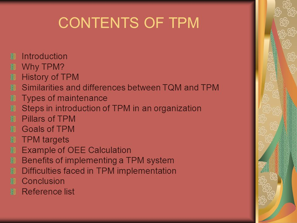 CONTENTS OF TPM Introduction Why TPM History of TPM