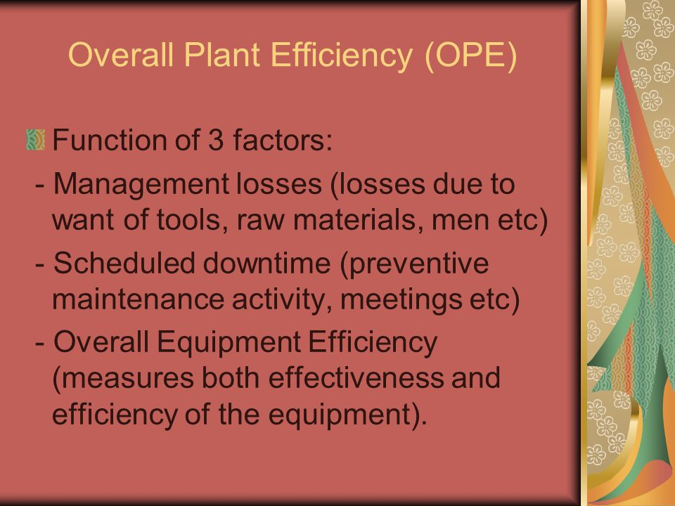 Overall Plant Efficiency (OPE)