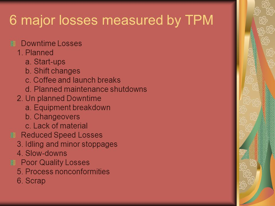 6 major losses measured by TPM