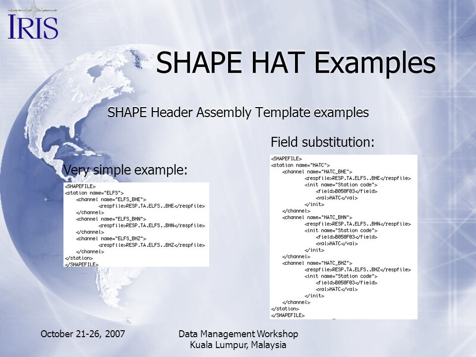 SHAPE HAT Examples SHAPE Header Assembly Template examples