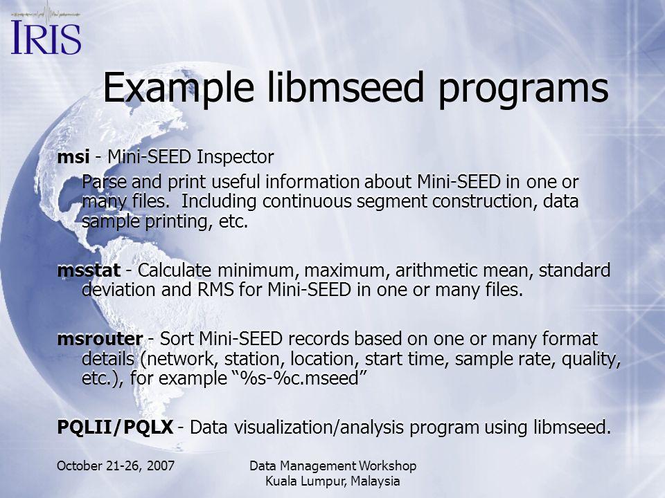 Example libmseed programs