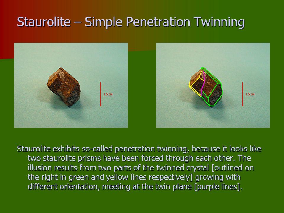 Staurolite – Simple Penetration Twinning