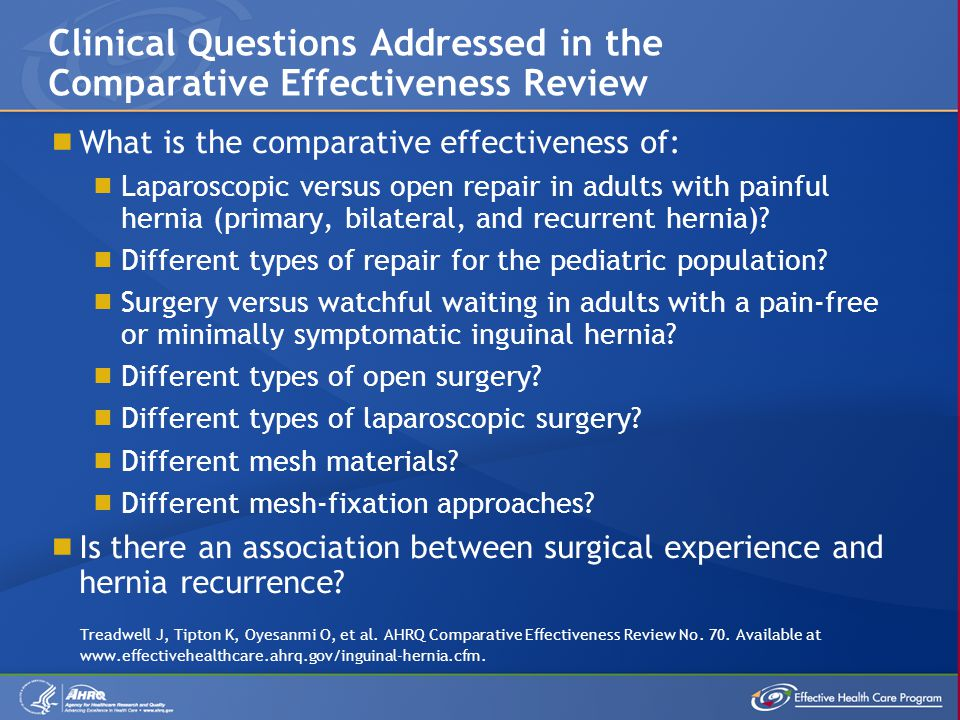 Clinical Questions Addressed in the Comparative Effectiveness Review