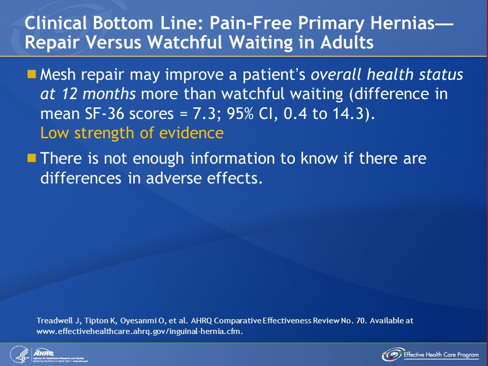 Clinical Bottom Line: Pain-Free Primary Hernias—Repair Versus Watchful Waiting in Adults