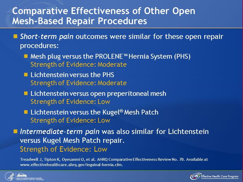 Comparative Effectiveness of Other Open Mesh-Based Repair Procedures