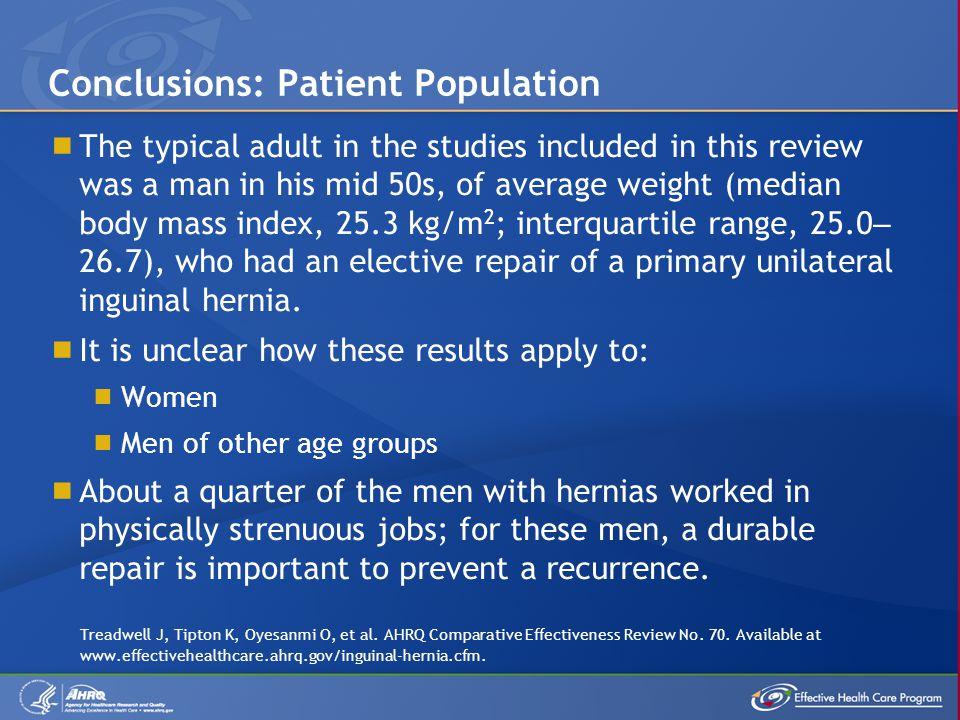 Conclusions: Patient Population