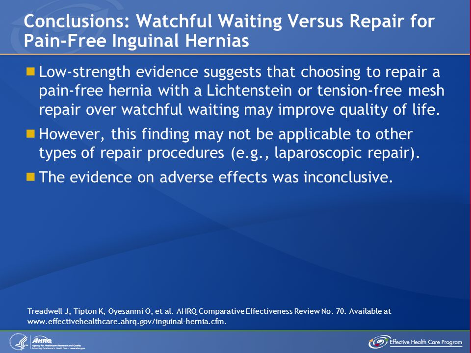Conclusions: Watchful Waiting Versus Repair for Pain-Free Inguinal Hernias