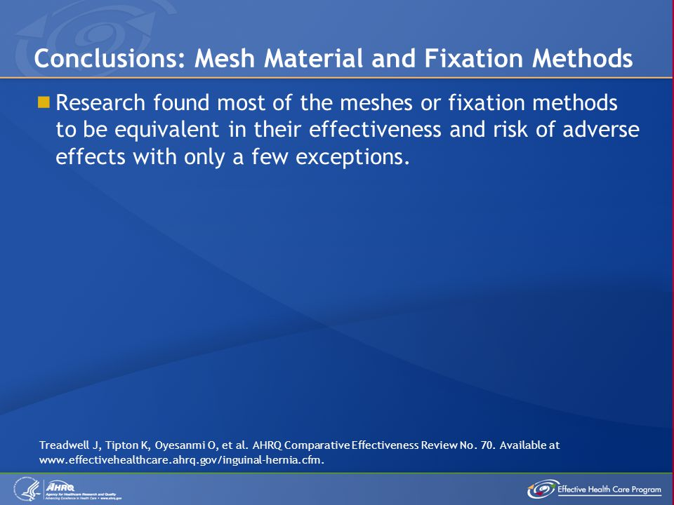 Conclusions: Mesh Material and Fixation Methods