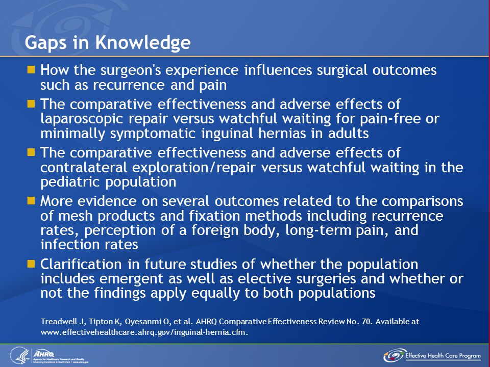 Gaps in Knowledge How the surgeon s experience influences surgical outcomes such as recurrence and pain.