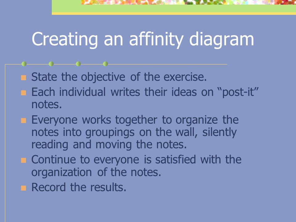 Creating an affinity diagram