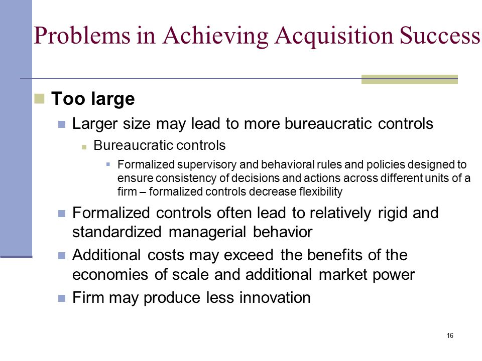 Problems in Achieving Acquisition Success