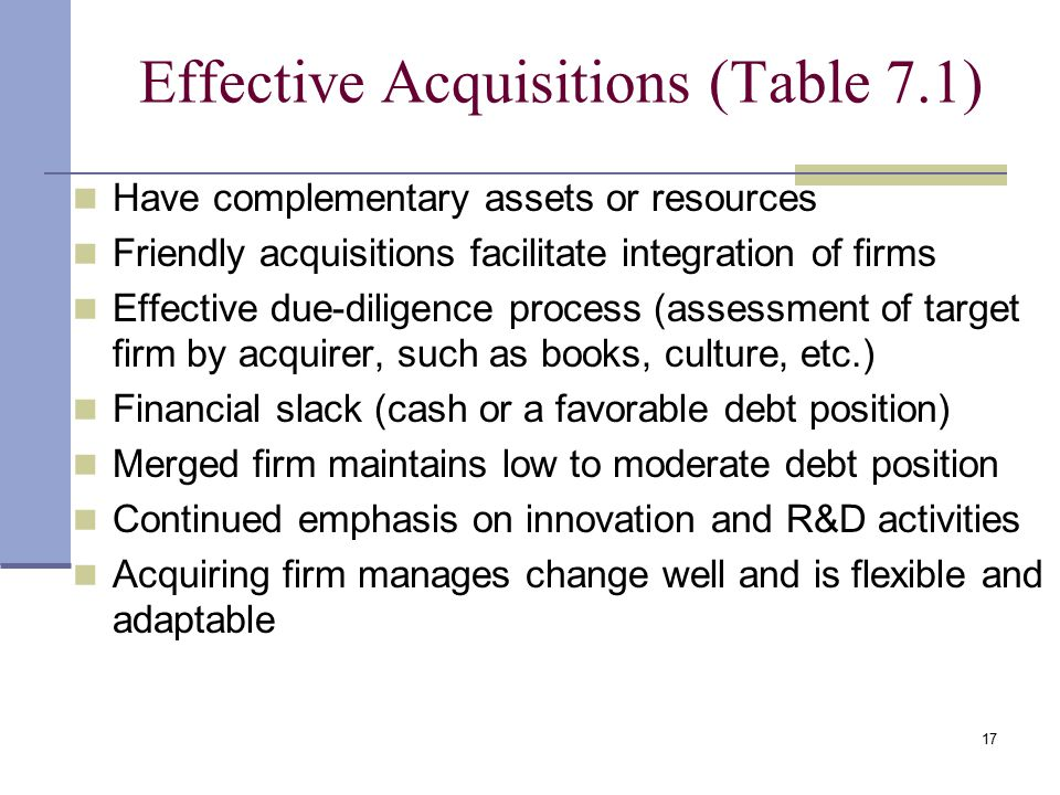 Effective Acquisitions (Table 7.1)