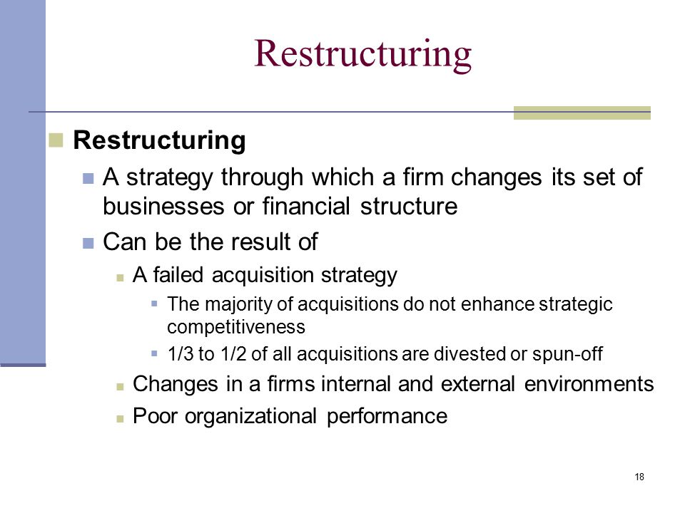 Restructuring Restructuring