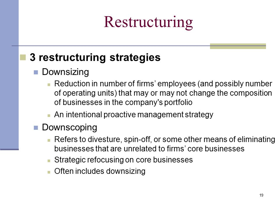 Restructuring 3 restructuring strategies Downsizing Downscoping