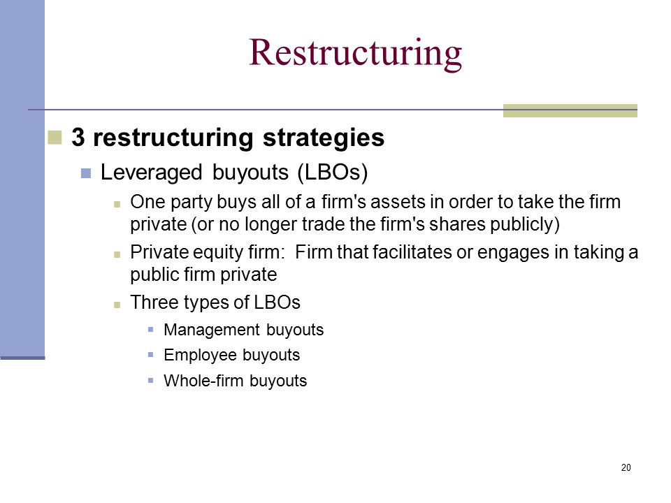 Restructuring 3 restructuring strategies Leveraged buyouts (LBOs)