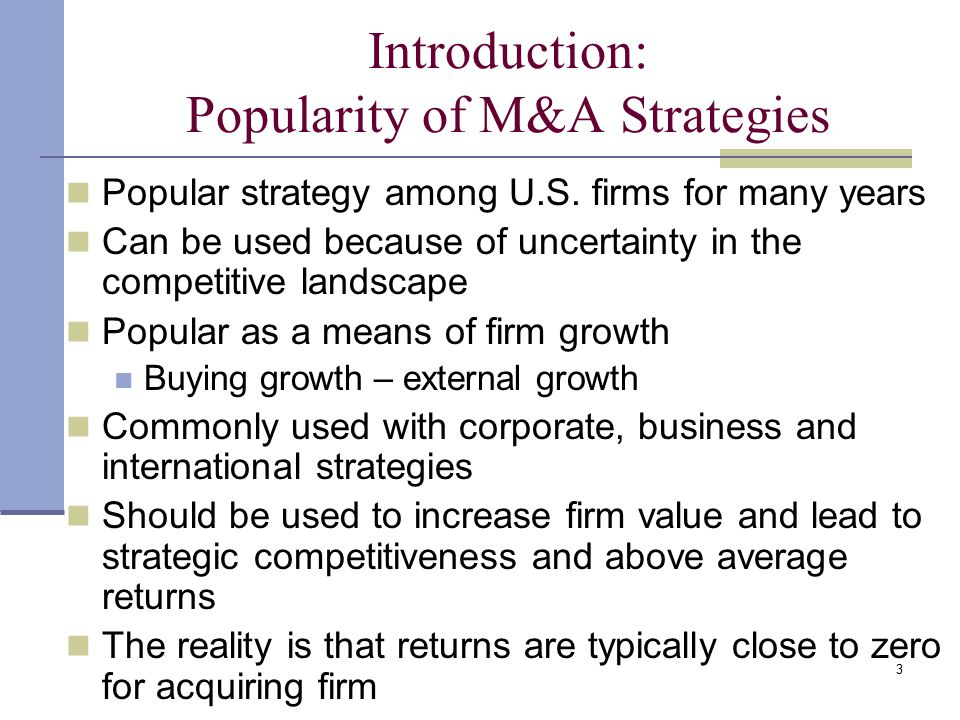Introduction: Popularity of M&A Strategies
