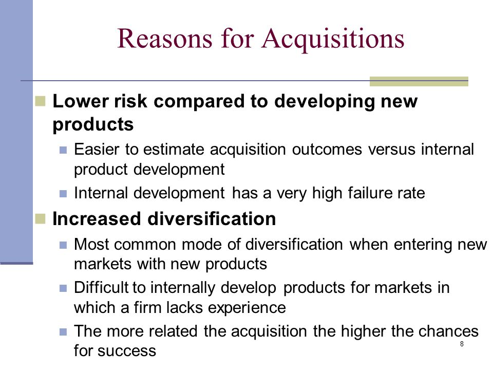 Reasons for Acquisitions