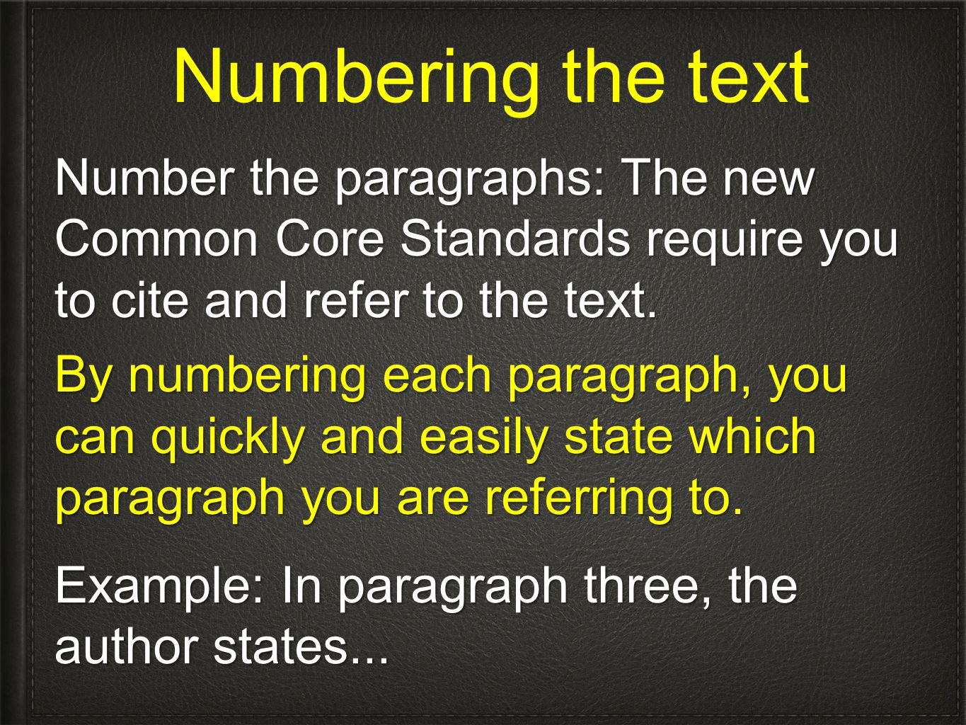 Numbering the text