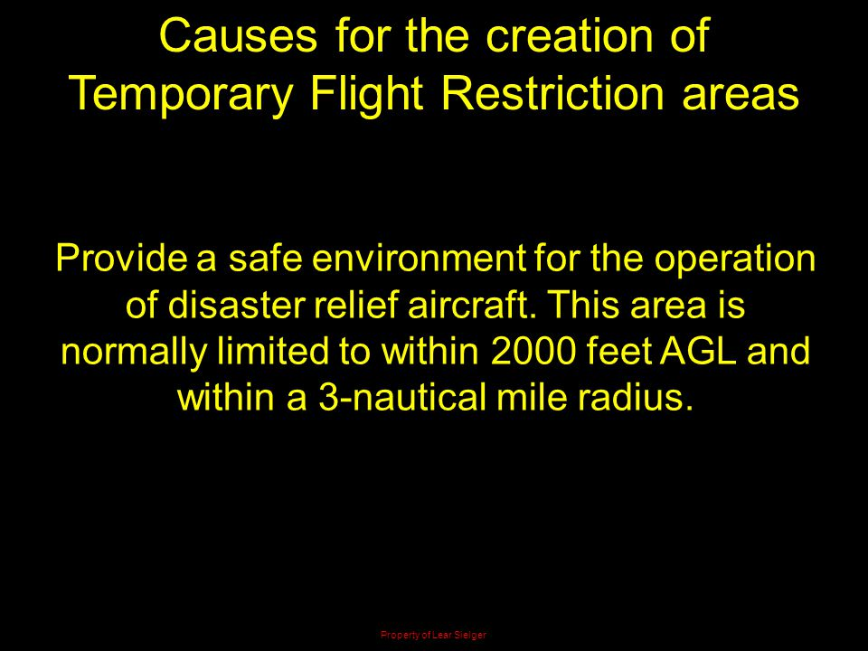 Causes for the creation of Temporary Flight Restriction areas