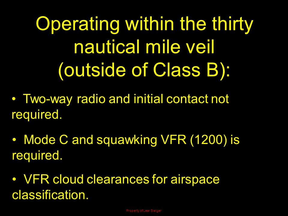 Operating within the thirty nautical mile veil (outside of Class B):