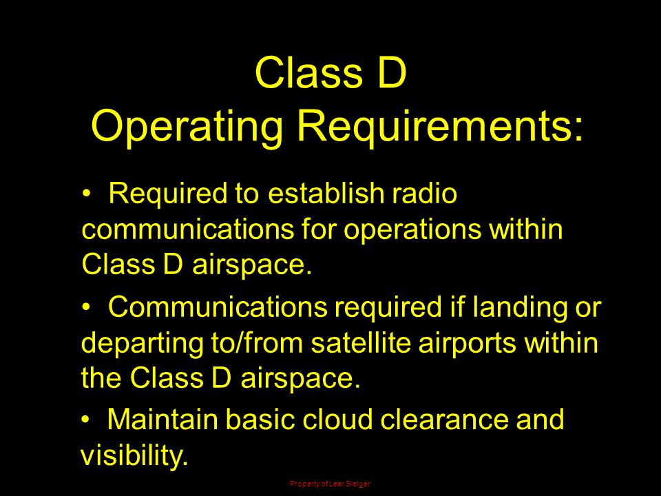 Operating Requirements: