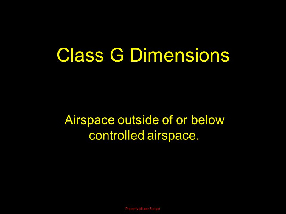 Class G Dimensions Airspace outside of or below controlled airspace.