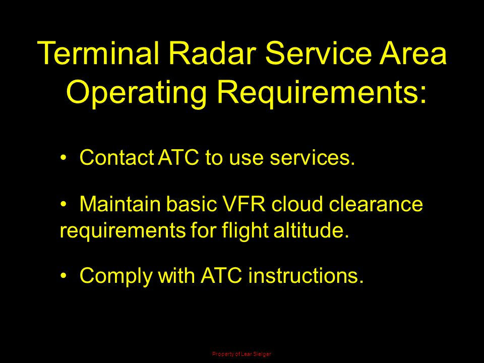 Terminal Radar Service Area Operating Requirements:
