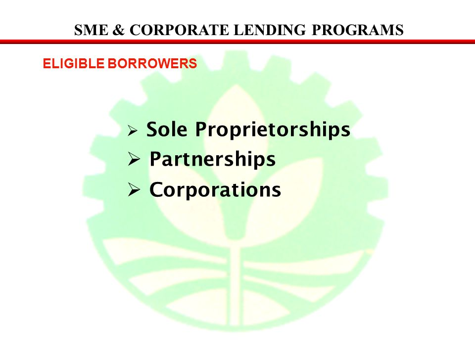 Partnerships Corporations SME & CORPORATE LENDING PROGRAMS