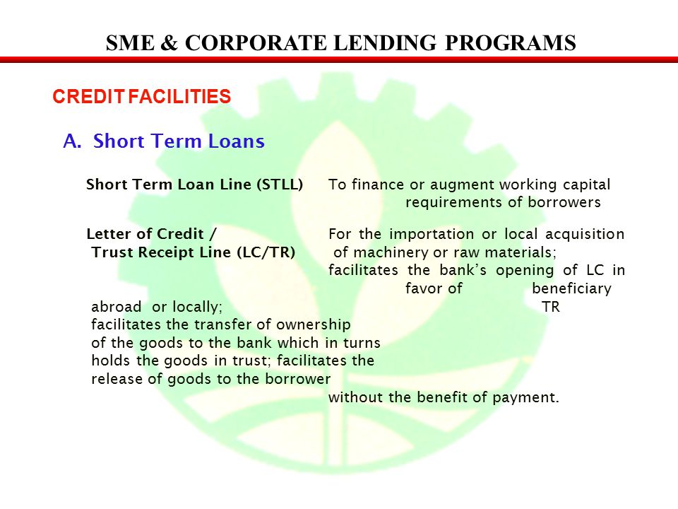 SME & CORPORATE LENDING PROGRAMS