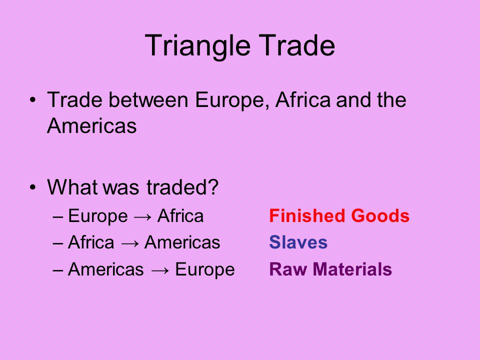 Triangle Trade Trade between Europe, Africa and the Americas