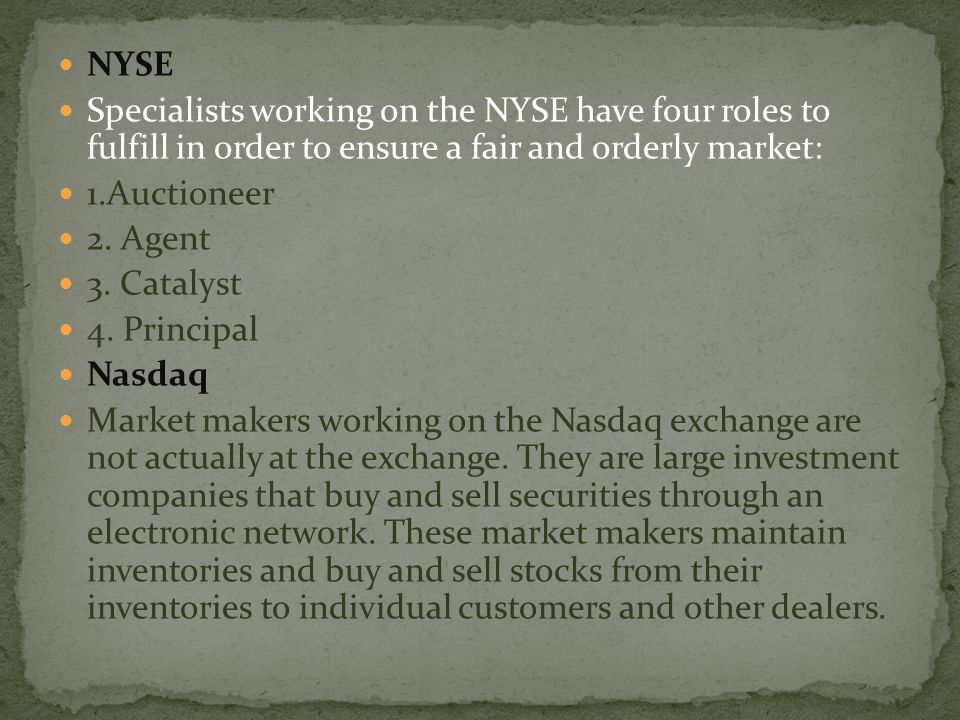 NYSE Specialists working on the NYSE have four roles to fulfill in order to ensure a fair and orderly market: