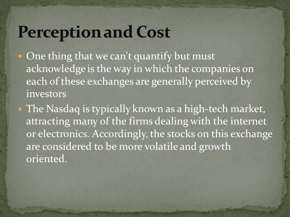 Perception and Cost