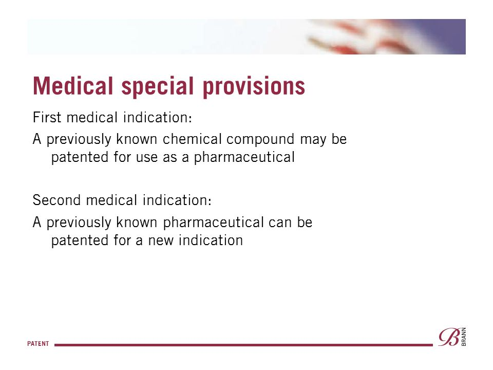 Medical special provisions