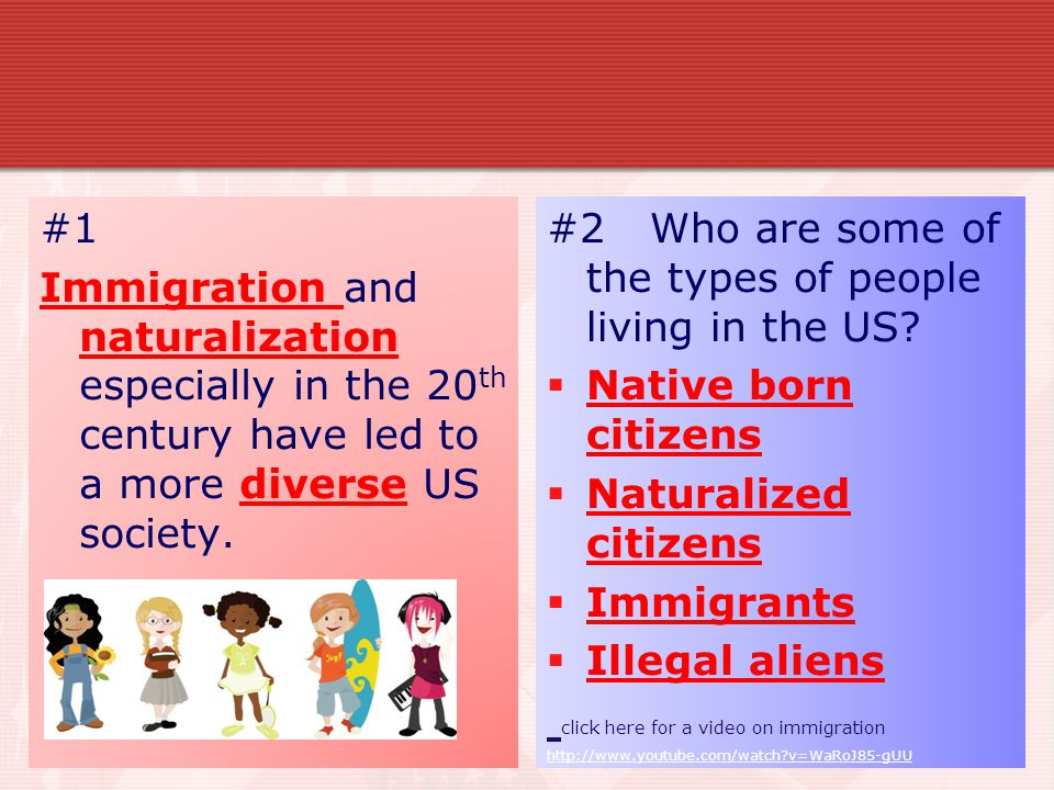 #2 Who are some of the types of people living in the US