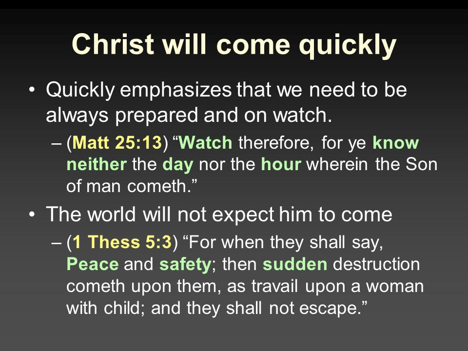 Christ will come quickly