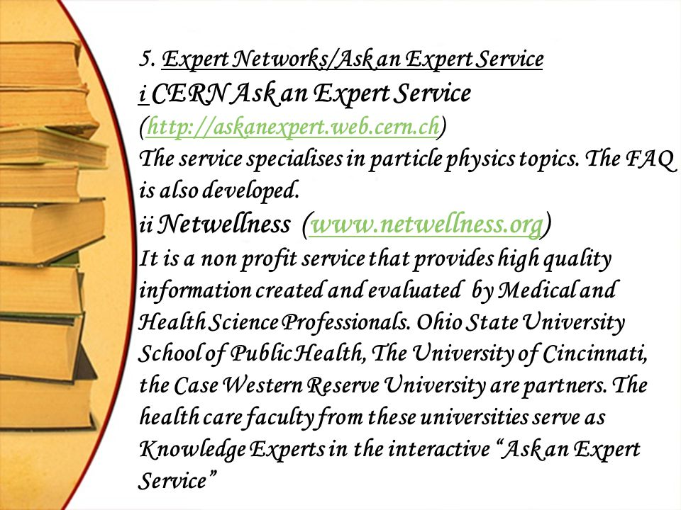 5. Expert Networks/Ask an Expert Service