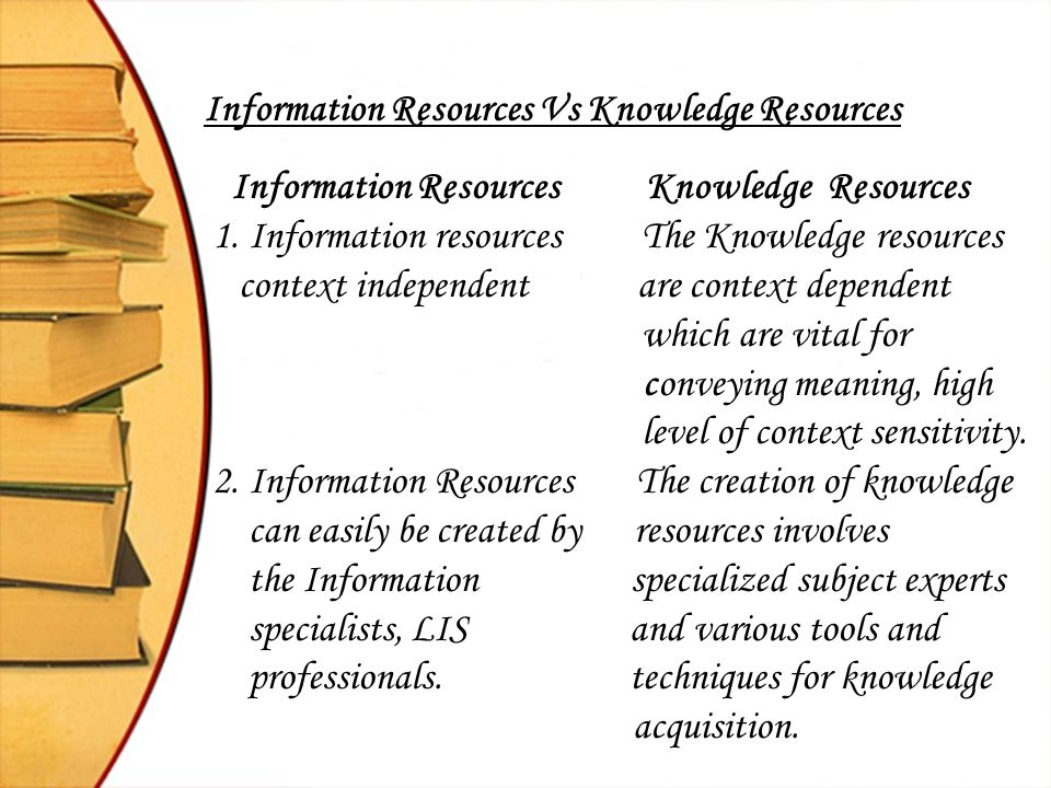 Information Resources Vs Knowledge Resources
