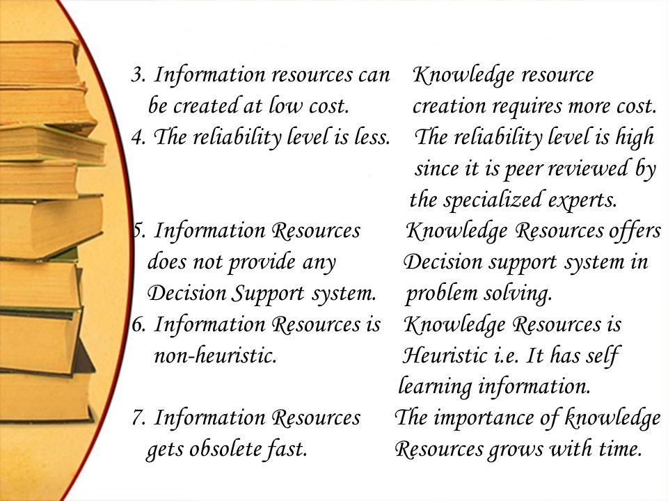3. Information resources can Knowledge resource