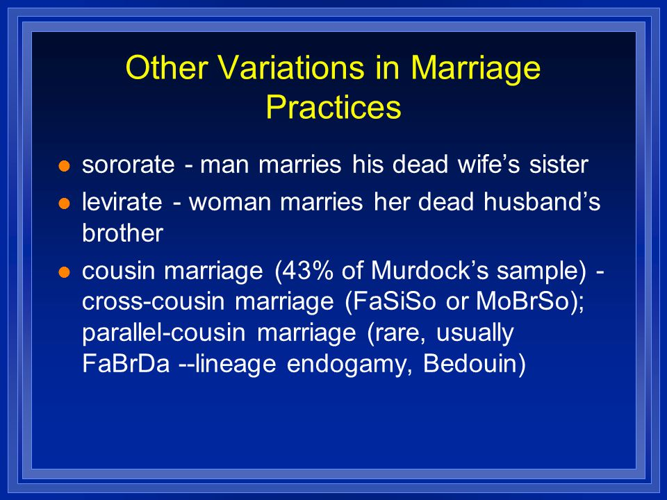Other Variations in Marriage Practices